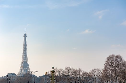 Eiffel tower against blue sky in winter wit naked trees in the foreground, Paris, France