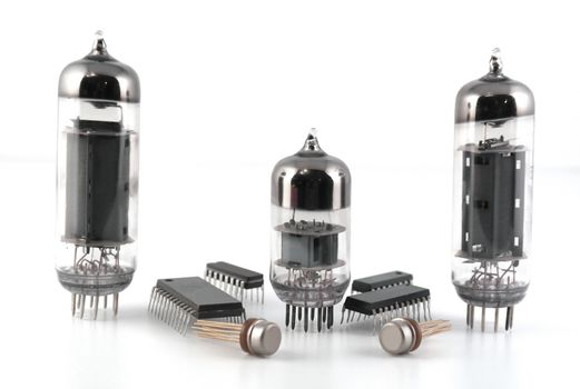 Vacuum radio tubes and semiconductor chips