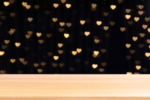 wood plank on bokeh lights heart shape soft gold background valentine, empty wood table floors on heart lights shape background colorful golden, wood table board empty on bokeh heart shape gold