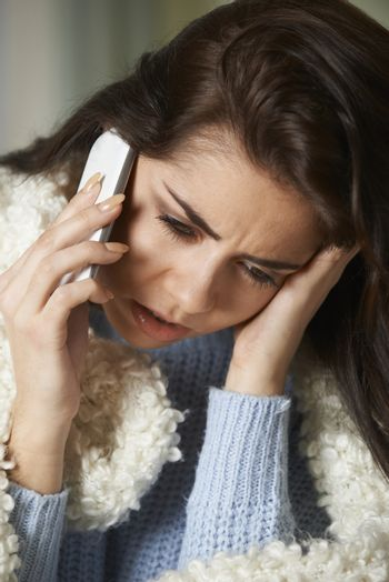 Ill Woman Phoning In Sick To Work On Mobile Phone
