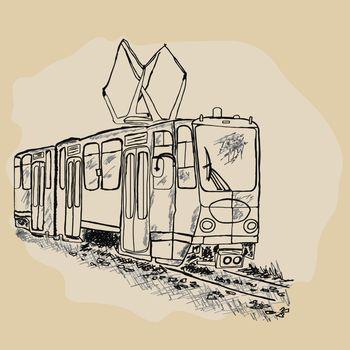 Hand drawn retro tram sketch. City trolley. Passengers, people transportation service. Urban trolleybus design element. T-shirt apparel print design. Stock vector illustration