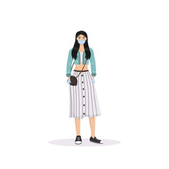 Young woman wearing face mask flat color vector faceless character. Quarantine, virus protection. Girl with rubber gloves isolated cartoon illustration for web graphic design and animation