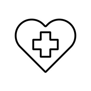 Cross inside heart vector icon. Medicine and healthcare, medical support sign. Graph symbol for medical web site and apps design, logo, app, UI