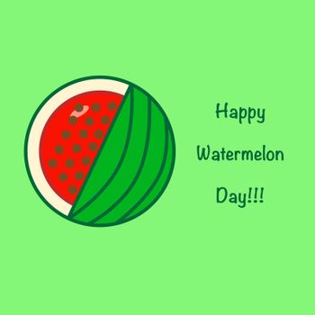 National Watermelon Day card at the light green background
