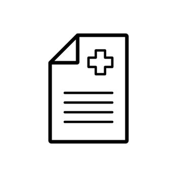 Medical report, clinical record vector icon. Medicine and medical support sign. Graph symbol for medical web site and apps design, logo, app, UI