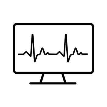 Computer diagnostics vector icon. Medicine and healthcare, medical support sign. Graph symbol for medical web site and apps design, logo, app, UI