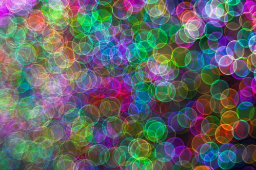Festive Christmas elegant abstract background with booble bokeh multicolored lights. Background with defocused lights. Classic bokeh .Copy space.