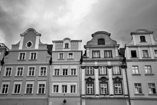 Facades of historic tenement houses on the market square in Jelenia Gora