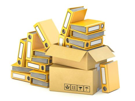 Bunch of yellow file folders in cardboard boxes 3D render illustration isolated on white background