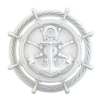 White anchor, ship wheel and rope 3D render illustration isolated on white background