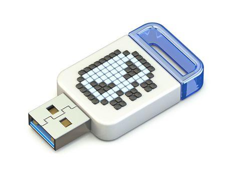 Skull sign on USB memory stick 3D render illustration isolated on white background