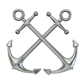 Metal crossing anchors 3D render illustration isolated on white background