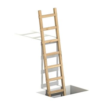 Wooden ladder in hole 3D render illustration isolated on white background