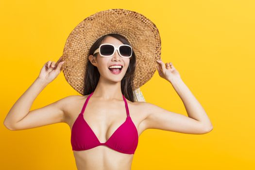 young beautiful woman wearing swimsuit bikini