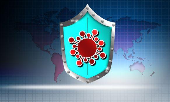 Coronavirus immunization shield with world map, 3d rendering