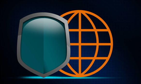 Shield protecting globe icon from crisis. 3D rendering