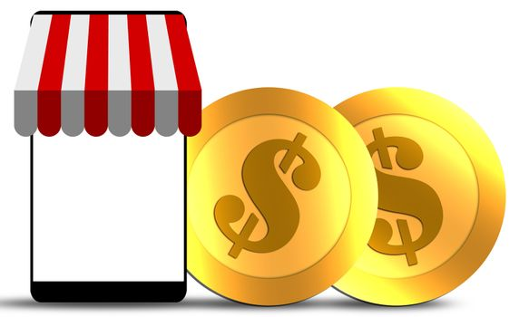 Mobile store concept with awning and gold coins