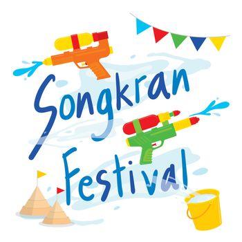 Songkran Festival Water Splash of Thailand, Thai Traditional Cartoon Character Vector.