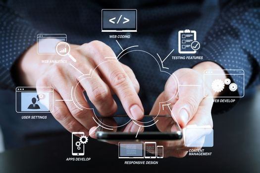 close up of businessman hand working with mobile phone in modern