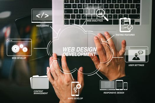 cyber security internet and networking concept.Businessman hand
