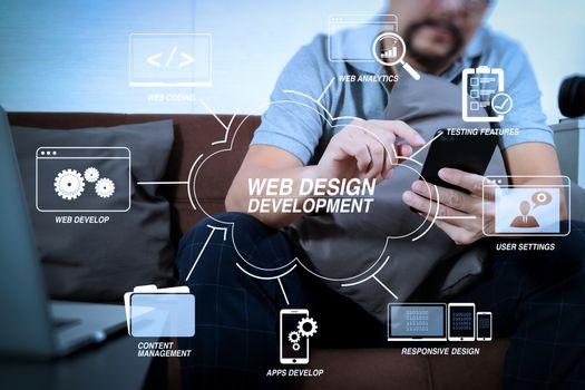 hipster hand using digital tablet docking keyboard and smart pho