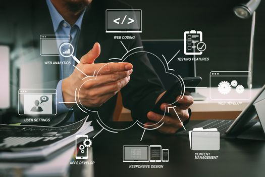 businessman working with smart phone and digital tablet and lapt