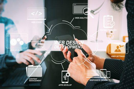 co working team meeting concept,businessman using smart phone an