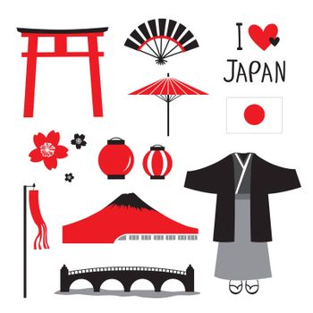 Japan Tradition Place Travel Asia Mascot Cartoon Element Vector.