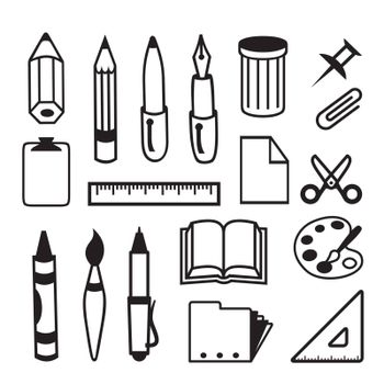 Set of Back to School and Office Stationery Object Icon Black Vector.