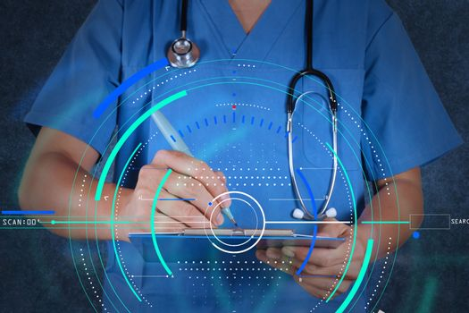 medical doctor with stethoscope writing