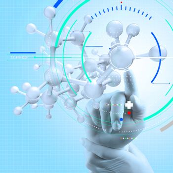 scientist doctor hand touch virtual molecular structure