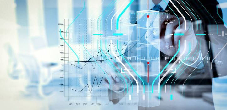 Business data analytics process management diagram.double exposure of businessman hand working with new modern computer and business strategy as concept