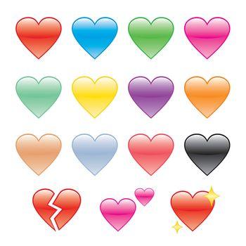 Set of Hearts and Heartbroken Vector Illustration.