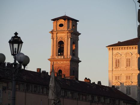 Turin cathedral steeple at sunset