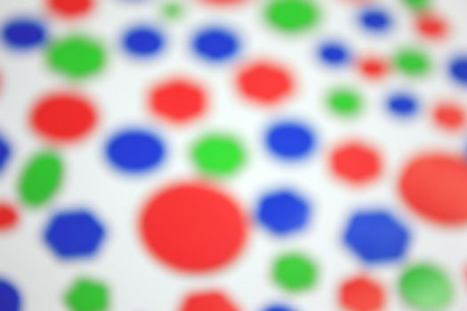 Abstract background. Color bokeh hexagon and circle shape  over white