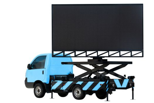 Billboard on car blue color LED panel for sign Advertising isolated on background white
