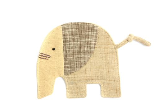 cute elephant sew by cloth isolated on a white background