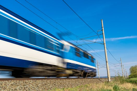 intercity express train travels on the tracks