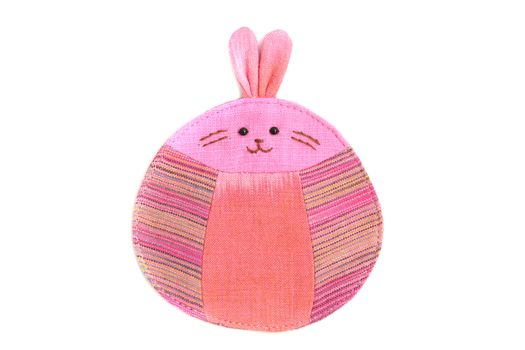 cute rabbit sew by cloth isolated on a white background