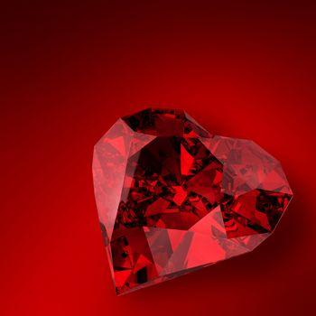 glowing diamond heart illustration on red