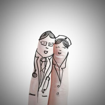A lovely couple hand drawn and finger,doctor and nurse