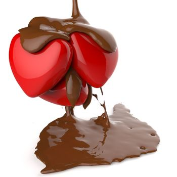 close up chocolate syrup leaking over heart shape symbol on white background