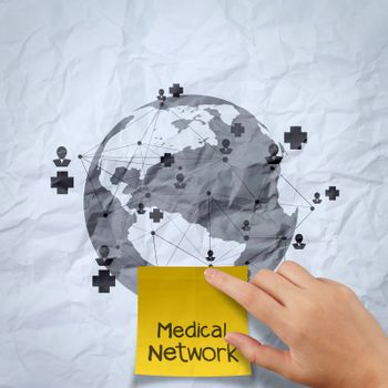 hand show medical network on sticky note  on crumpled paper as concept