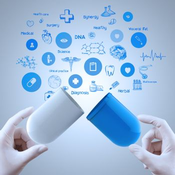 Medicine doctor hands holding capsule medicine as medical concept