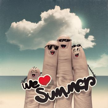 Finger family travels at the beach and we love summer word