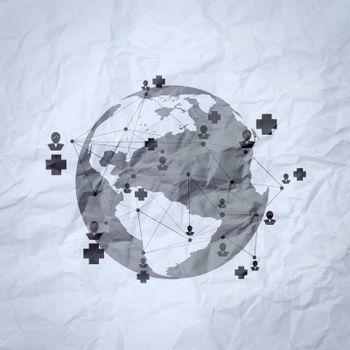 medical network on crumpled paper as concept
