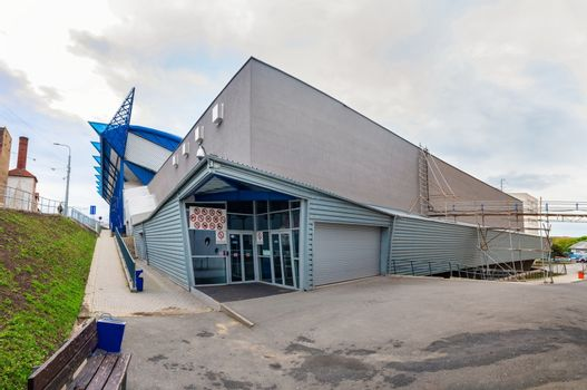 KOSICE, SLOVAKIA – APRIL 29 2019: Back entrance of Steel Arena – Ice hockey stadium where IIHF International Ice Hockey World Championship 2019 will be held (KOSICE, SLOVAKIA)
