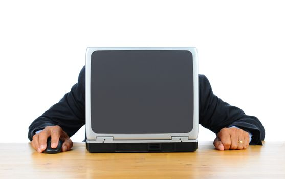 Businessman frustrated with technology with his head down on his laptop. Man is hidden behind computer only his hands and arms are visible. Horizontal format isolated over white.