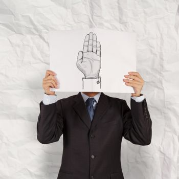 businessman show book of  Hand raised and crumpled paper background as concept