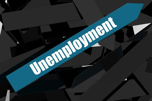Unemployment word on the blue arrow